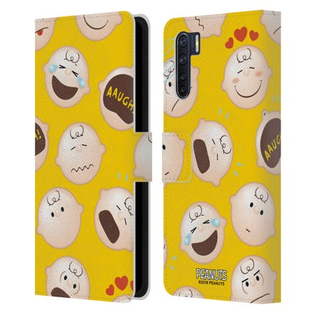 Head Case Designs Officially Licensed Peanuts Character Patterns Charlie Brown Leather Book Wallet Case Cover Compatible with OPPO Oppo A91