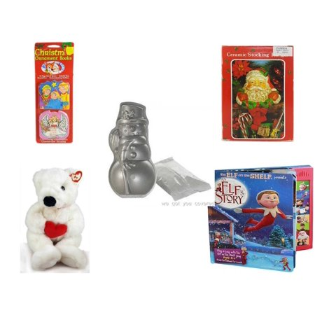 Christmas Fun Gift Bundle [5 Piece] - Xmas Ornamentbooks: 3 Kings, Angel Get Her Wings - Vintage Designed Stocking Hanger Santa - Nordic Ware Snowman Cake Pan - Ty Beanie Buddy