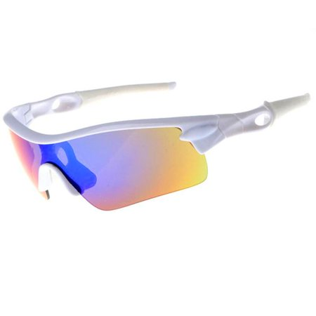 SUNGLASSES - WHITE POLARIZED SPORT SUNGLASSES SPORTS STYLE CYCLING BIKE RIDING FISHING GOLFING DRIVING BASEBALL REFLECTIVE SHADES