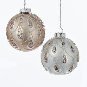 2 Assorted Glass Rose Gold Ball Ornaments