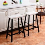 costway set of 2 saddle seat 29 bar stools wood bistro dining kitchen pub. Interior Design Ideas. Home Design Ideas