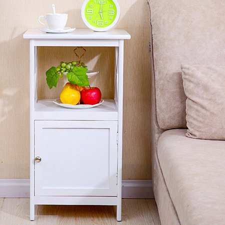 Multi Function Nightstand 2 Tier Curving Pattern Bedside Table with 1 Magnetic Cabinet Door Fashion Design Shelf - White ()