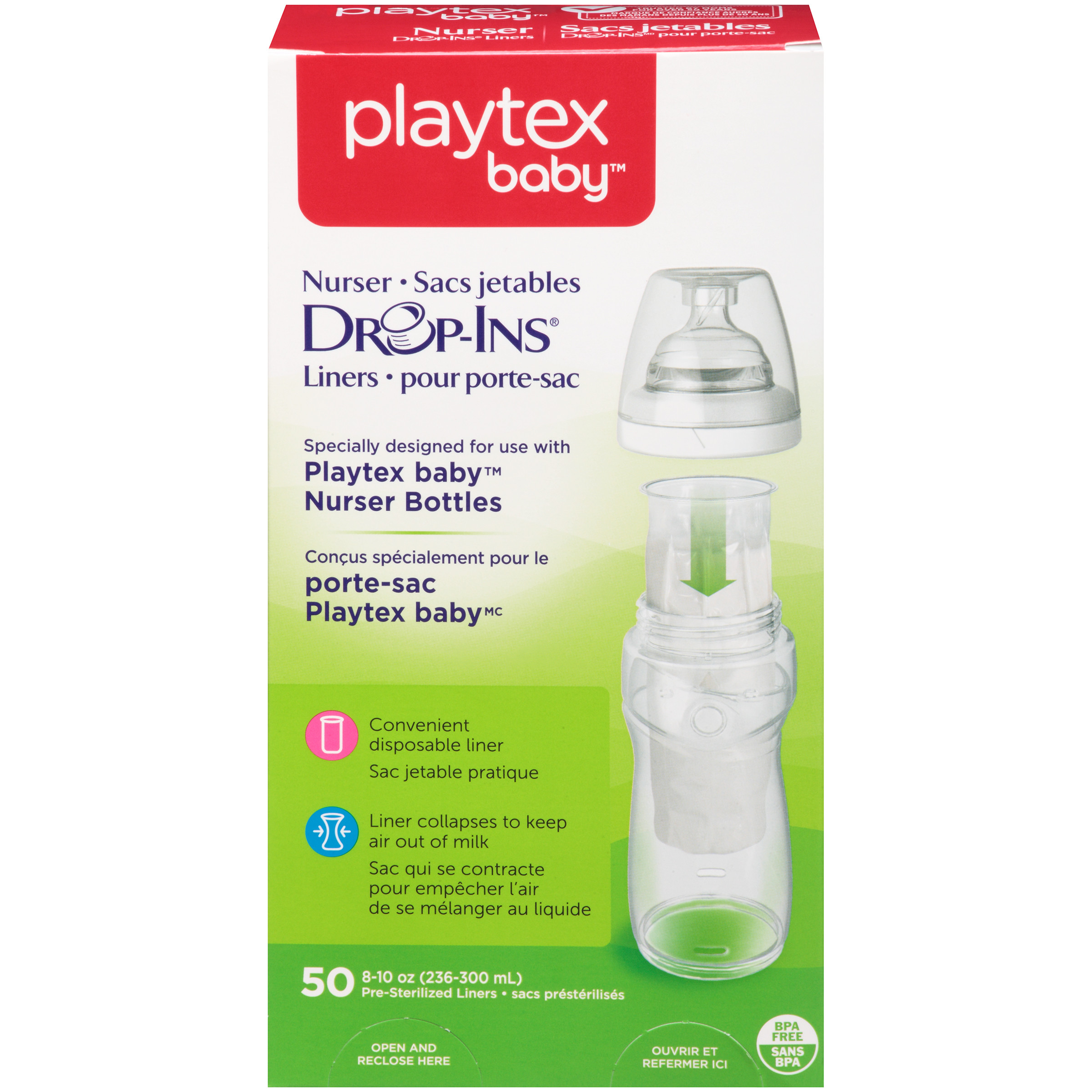 Playtex Baby Drop-Ins Liners For Playtex Baby Nurser Bottles 8-10oz 50 count