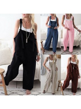 Multitrust Women's Casual Loose Linen Pants Cotton Jumpsuit Strap Harem Trousers Overalls
