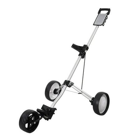 Costway Foldable 3 Wheel Push Pull Golf Cart Trolley Three Wheels Swivel Folding