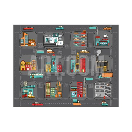 Cartoon Map - Colorful Cartoon City Map Print Wall Art By Curvabezier