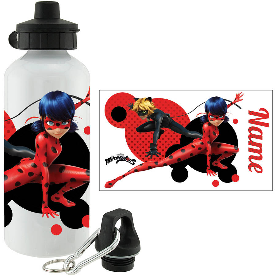 Personalized Miraculous Ladybug and Cat Noir Water Bottle, White