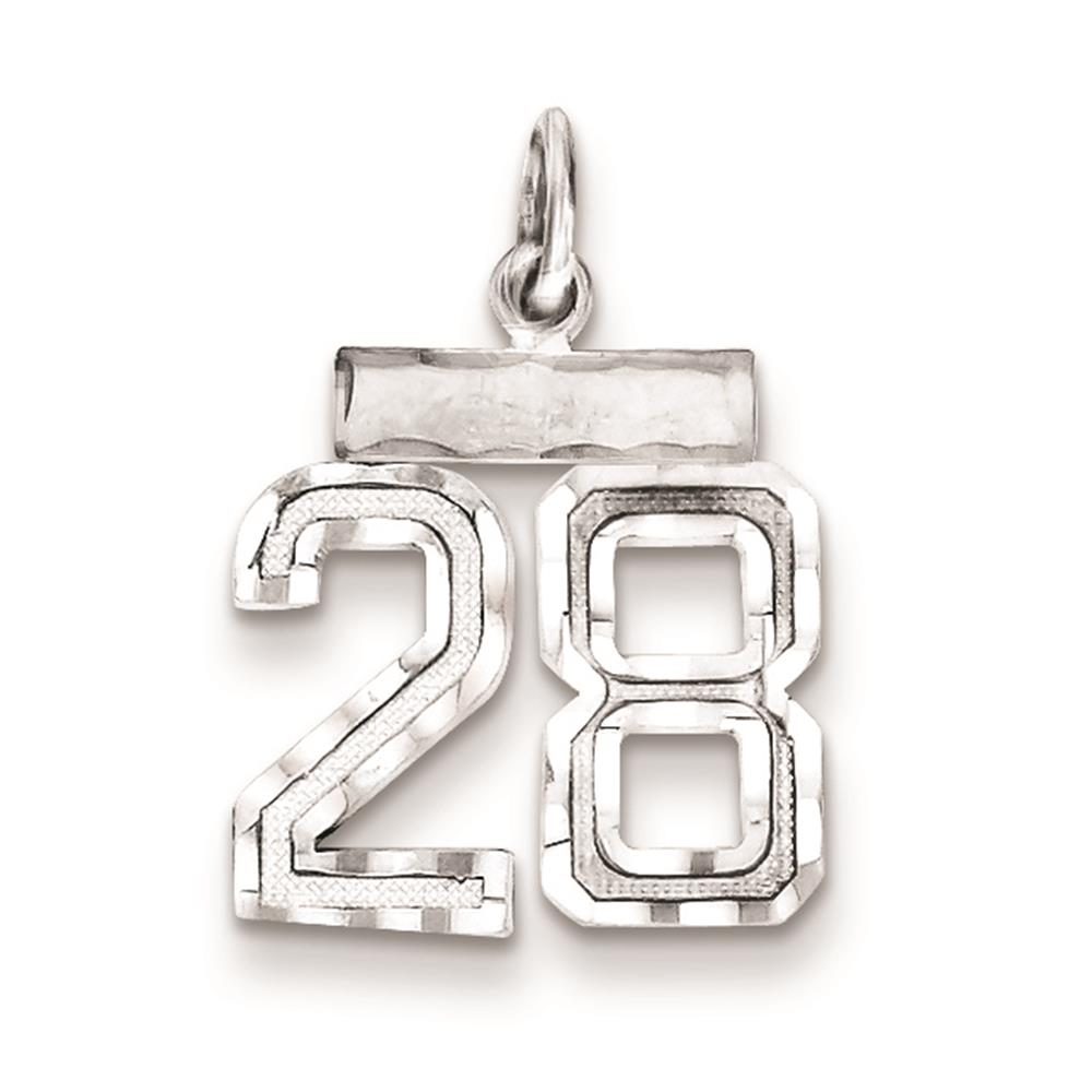 925 Sterling Silver Diamond Cut Small #28 Solid Charm Pendant