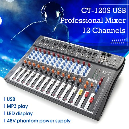 48V Fashion Professional Bluetooth Studio Audio Mixer Professional 12 Channels Audio Mixing Console System DJ Sound XLR LCD With USB Stereo Output Jacks REC Headset (Mixing Console)