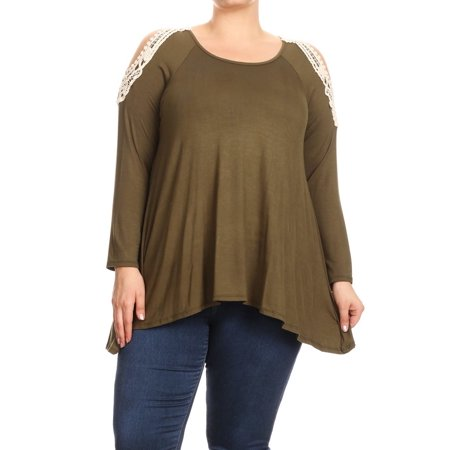 90866f5b3e0 MOA Collection - Plus Size Women's Trendy Style Cold Shoulder Solid Tunic  Top - Walmart.com