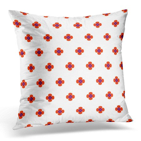 ARHOME Colorful 70S White with Quatrefoil Flower Symbol Shape Red Abstract Pillow Case Pillow Cover 18x18 inch](70s Flower Power Fashion)