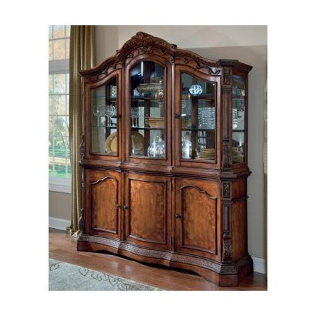 Ashley D7058081 Ledelle Dining Room Buffet With Hutch Elaborately Moulded Orn
