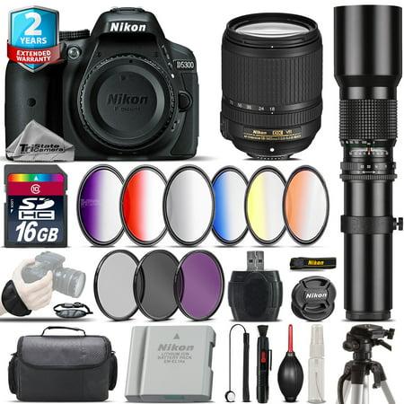 Nikon D5300 DSLR Camera + AFS 18-140mm VR + 500mm + 6PC Graduated Filter -