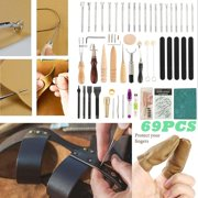 69Pcs Craft Kit Hand Tools for Hand Sewing Stitching Stamping Set and Saddle Making Sewing Leather Saddle Stamping