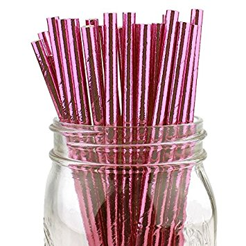 Just Artifacts 100pcs Solid Metallic Baby Pink Paper Straws - Great for Weddings and Birthday Parties