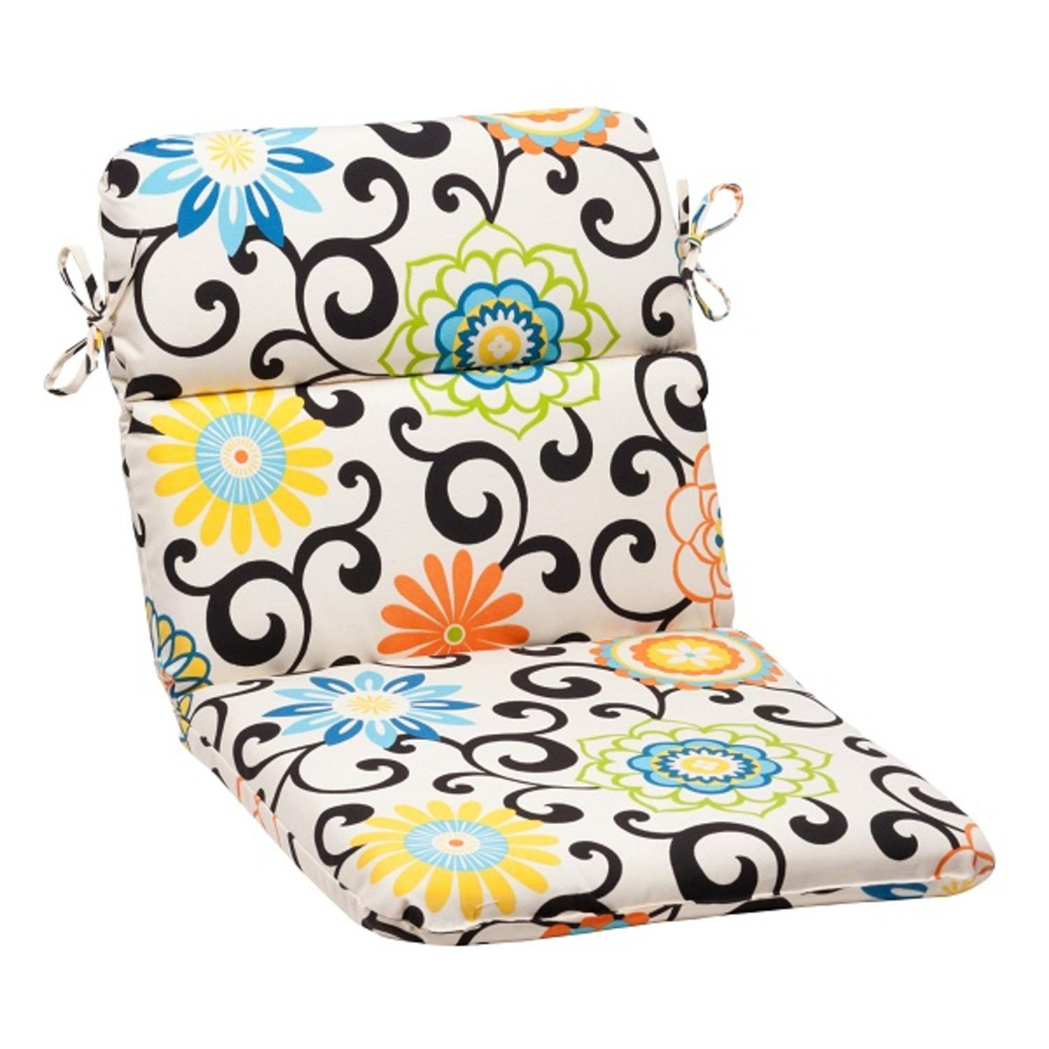 """40.5"""" Waverly Summer Flower Outdoor Patio Furniture Rounded Chair Seat Cushion"""