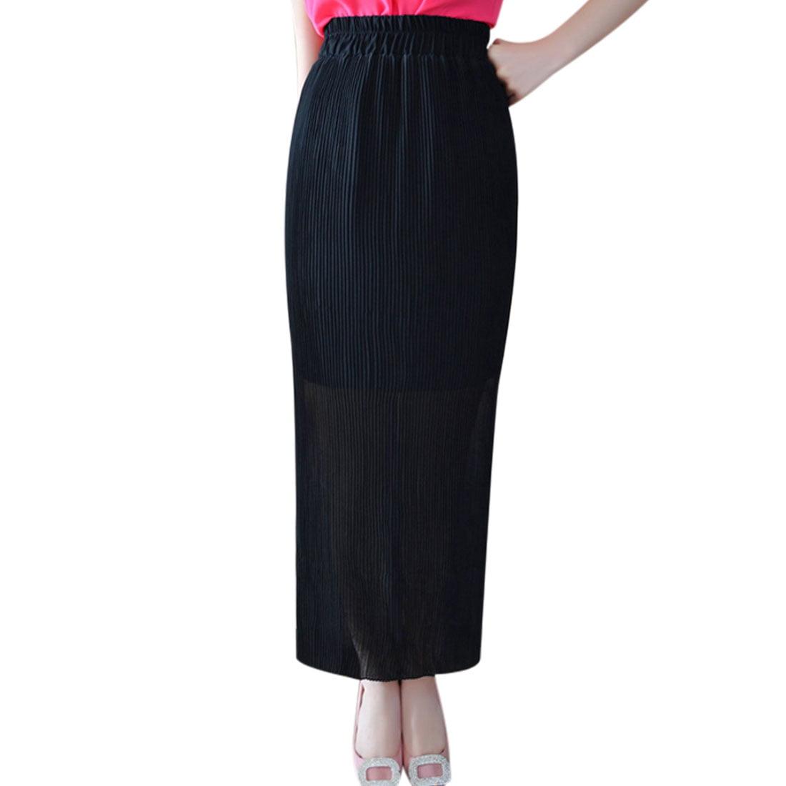 slim fit elastic waist half lined chiffon pleated