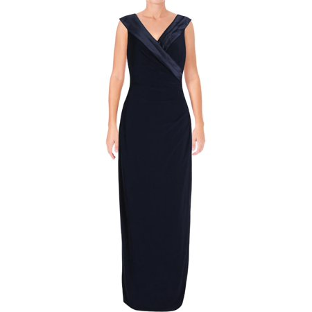 Lauren Ralph Lauren Womens Leonetta Satin Trim Evening Dress Navy 4