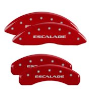 MGP 4 Caliper Covers Engraved Front & Rear Cursive/Cadillac Red finish silver ch