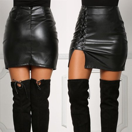 7bef5df6aa71d Emmababy - Fashion Ladies Women Black Leather Skirt High Waist Slim Party  Pencil Mini Skirt - Walmart.com