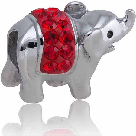 Stainless Steel Elephant Charm with Red Crystal Accents