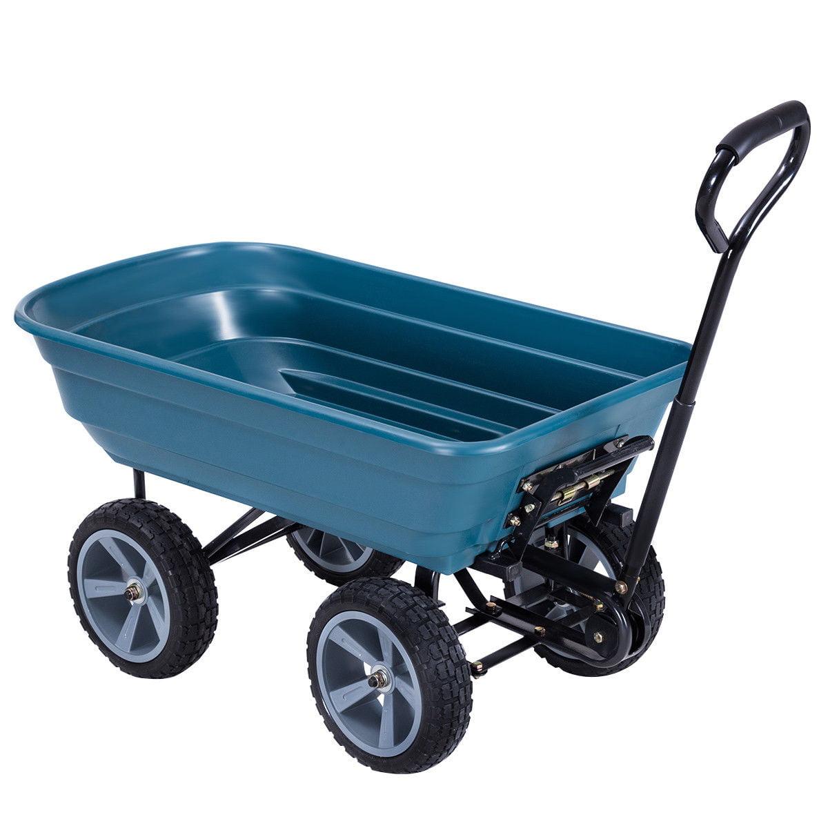 GHP 440-Lbs Capacity Blue Steel Garden Dump Cart Wagon with Rubber Pneumatic Wheels