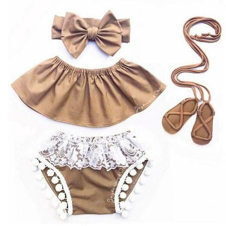 3PCS Kids Baby Girl Summer Off Shoulder Top Tank+Short Pants Outfit Clothes Set