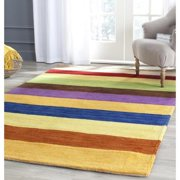 Safavieh Handmade Himalaya Yellow Multicolored Stripe Wool Gabbeh Rug (5 x 8)