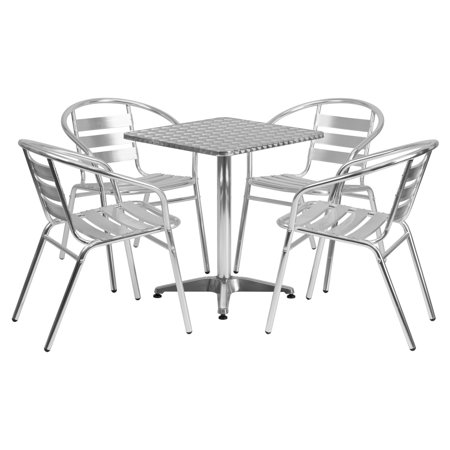 Aluminum Slat Table - Flash Furniture 23.5'' Square Aluminum Indoor-Outdoor Table with 4 Slat Back Chairs