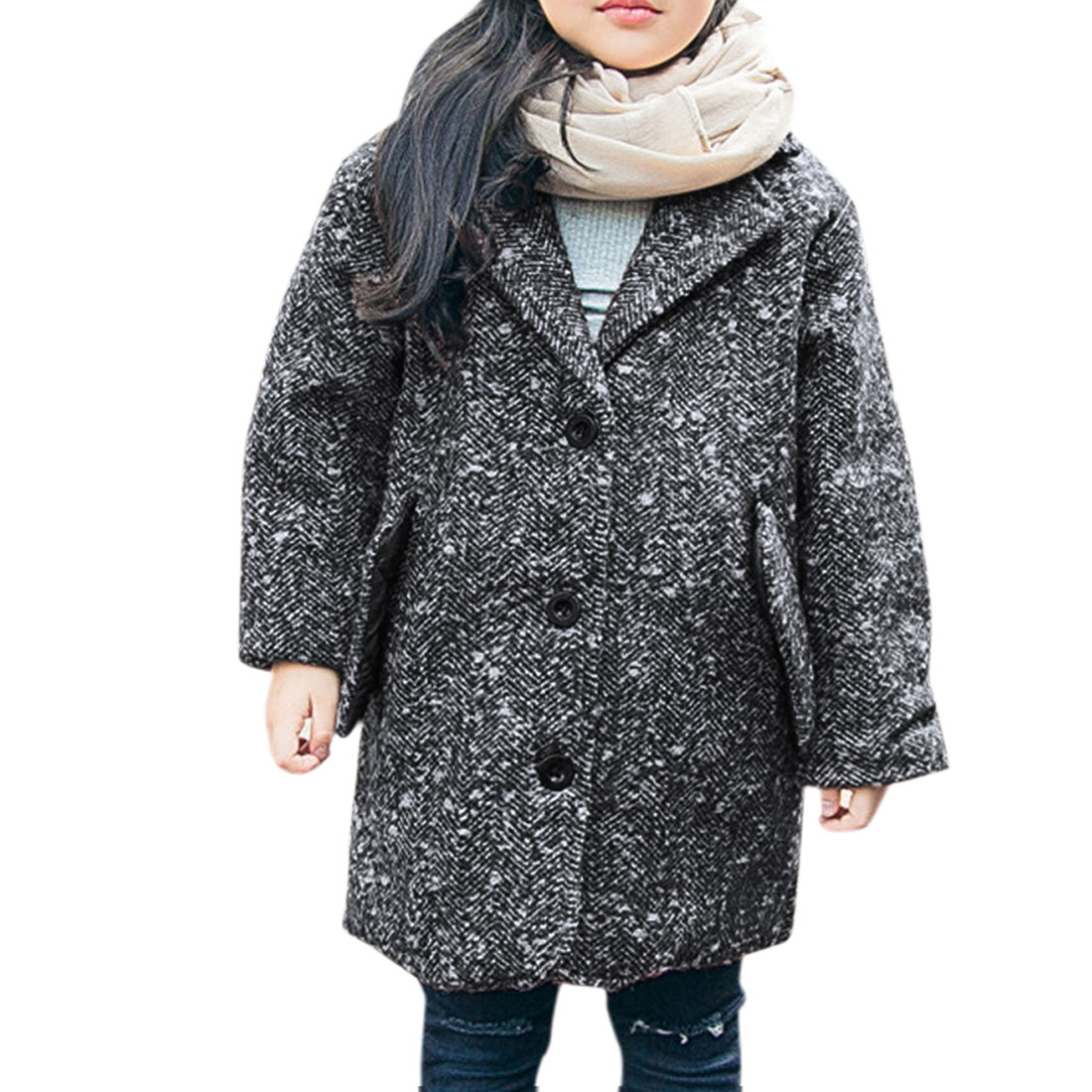 Girls Long Sleeves Button Down Tunic Worsted Coat ids Gray 12