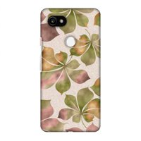 Google Pixel 2 XL Case - Color It Tropically - Beige and Green, Hard Plastic Back Cover, Slim Profile Cute Printed Designer Snap on Case with Screen Cleaning Kit