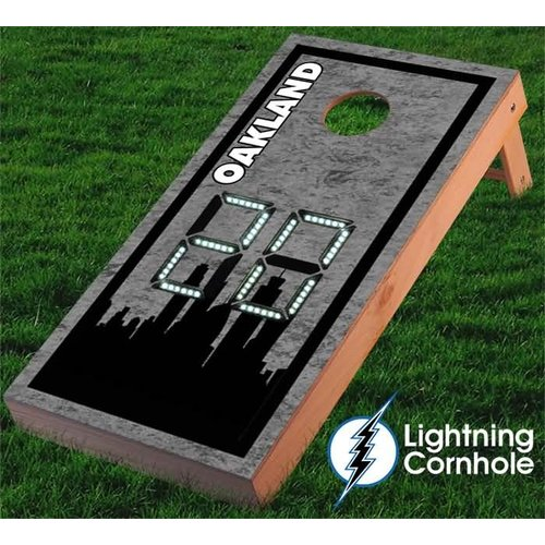Lightning Cornhole Electronic Scoring Oakland Skyline Cornhole Board