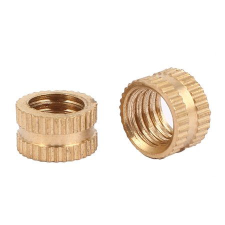 M8 x 6mm Female Thread Brass Knurled Threaded Round Insert Embedded Nuts 100PCS - image 2 of 3