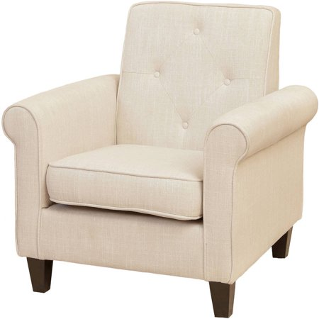 Noble House Liam Tufted Beige Fabric Club Chair ()