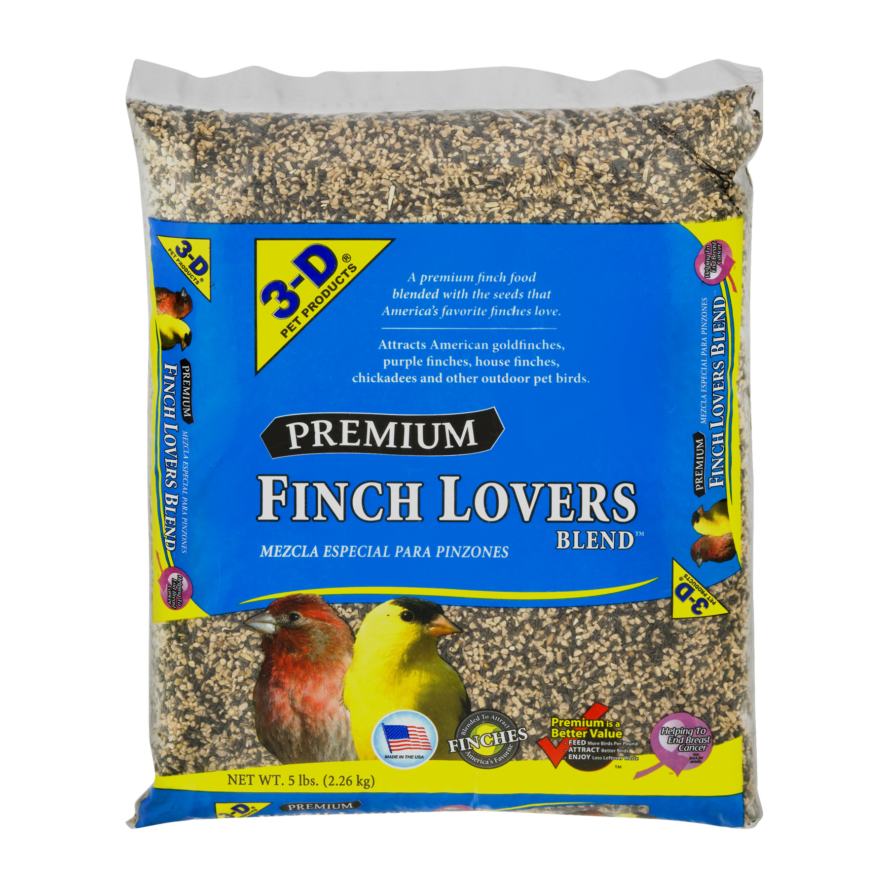 3-D Pet Products Premium Finch Lovers Blend Dry Parrot Food, 5 LB by D & D Commodities Ltd.
