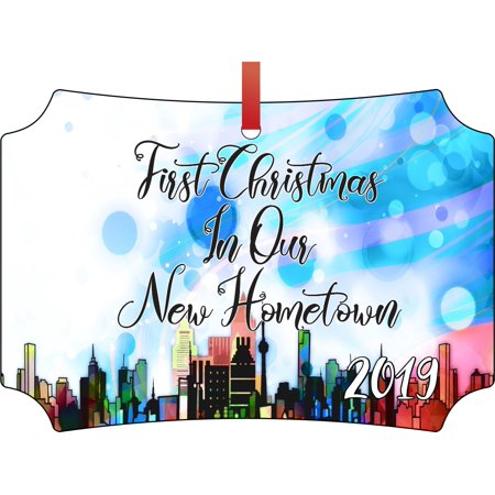 First Christmas In Our New Home 2019.Ornament New Home First Christmas In Our New Hometown 2019 Double Sided Elegant Aluminum Glossy Christmas Ornament Tree Decoration Unique Modern
