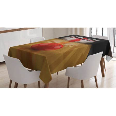 Center Table Decorations (Bowling Party Decorations Tablecloth, Alley with Red Skittle in Center Target Score Winning, Rectangular Table Cover for Dining Room Kitchen, 60 X 84 Inches, Light Brown Red White, by)