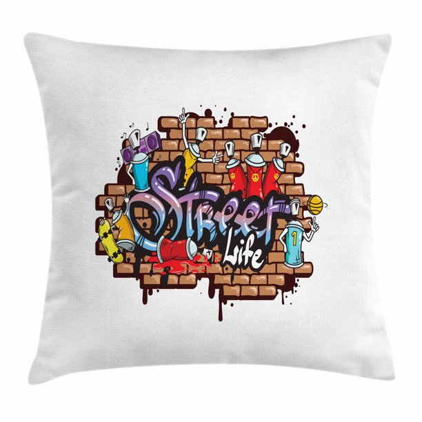 Youth Throw Pillow Cushion Cover Urban World Street Life Graffiti Art Spraycan Characters And Drippy Blotchy Letters Decorative Square Accent Pillow Case 16 X 16 Inches Multicolor By Ambesonne Walmart Com Walmart Com