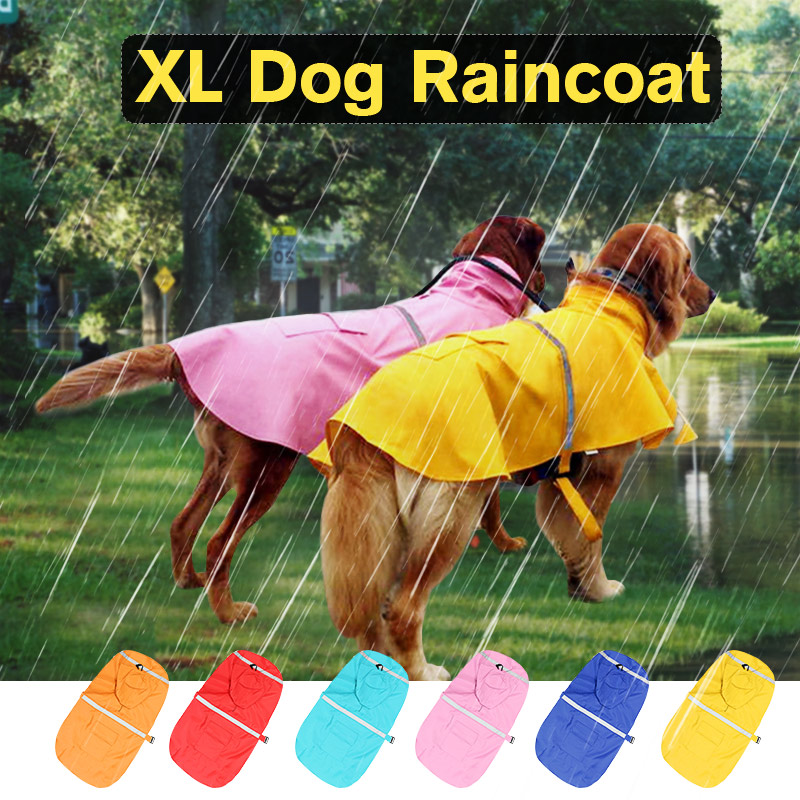 Waterproof Dog Raincoat XL Pet Clothes Hoodie Jacket Poncho Outdoor with Reflective Strip For Dog