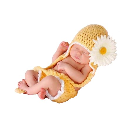 Majestic Milestones Crochet Baby Costume - Newborn - Sunflower - Newborn Caterpillar Costume