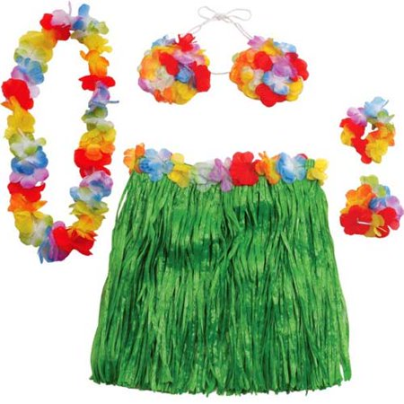 Hawaiian Luau Adult Large Hula Costume Set (5pc) - Island Costumes