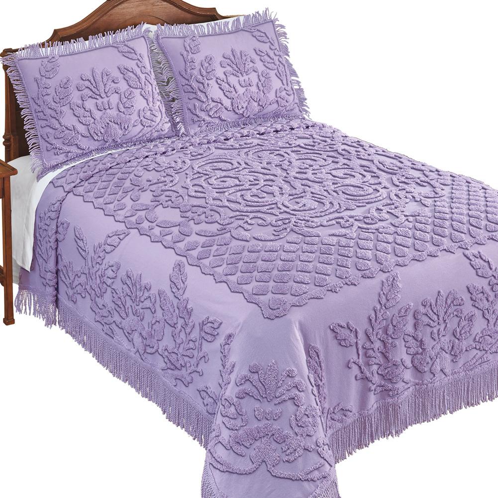 Leaf Patchwork Chenille Bedspread with Fringe