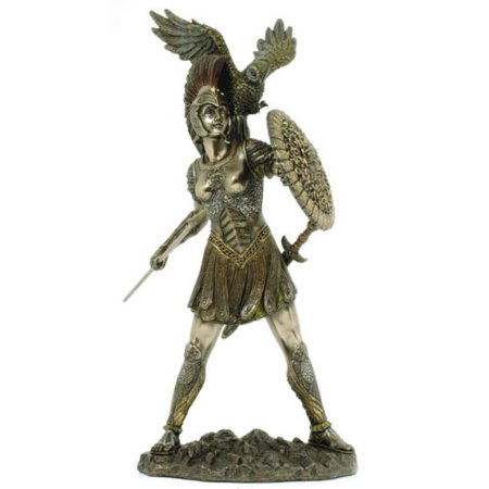 Athena (Minerva) & Owl Greek Roman Goddess of Wisdom Statue, Real Bronze Powder Cast Sculpture 12-inch