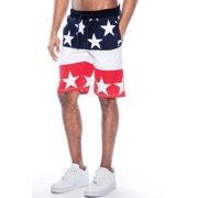 True Rock Men's USA Elastic Waist Shorts-Navy/Stars-Large