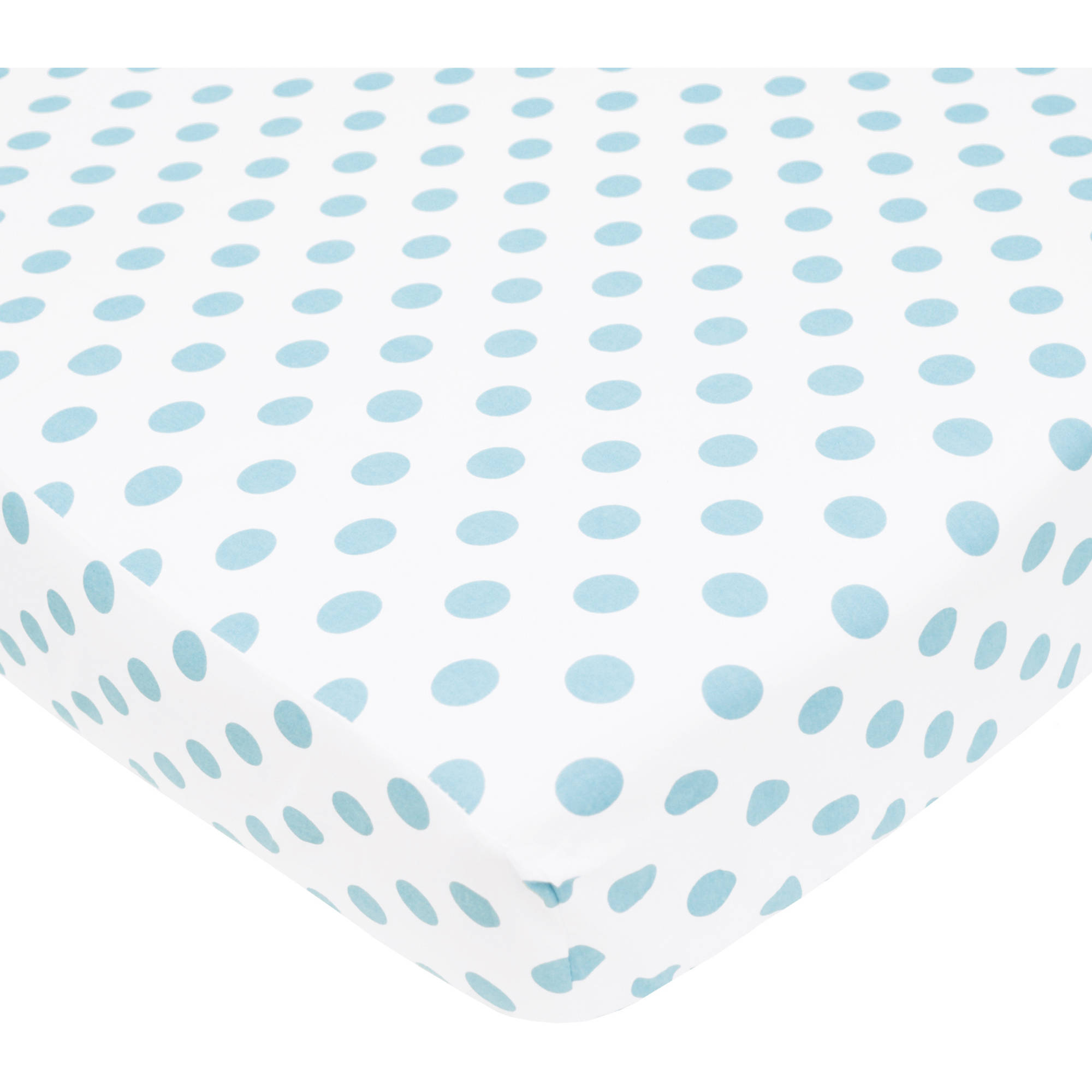 TL Care 100 Percent Cotton Percale Fitted Crib Sheet, White with Blue Dot