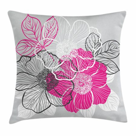 Blossoming Bouquet (Grey Throw Pillow Cushion Cover, Abstract Blossoming Peonies Romantic Spring Bridal Bouquet Feminine Corsage, Decorative Square Accent Pillow Case, 16 X 16 Inches, Grey Magenta White, by)