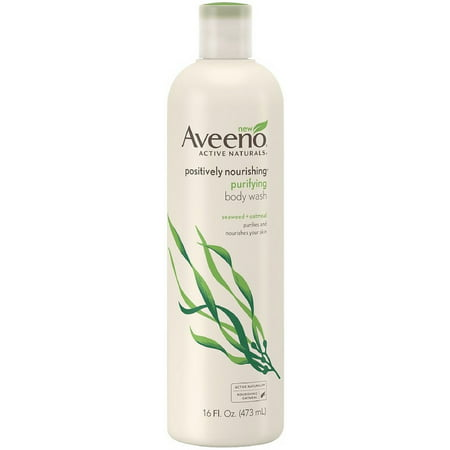 4 Pack - AVEENO Active Naturals Positively Nourishing Purifying Body Wash, Seaweed + Oatmeal 16 oz