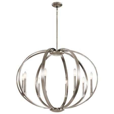 Chandeliers 8 Light With Classic Pewter Finish Steel Candelabra 36 inch 480 Watts