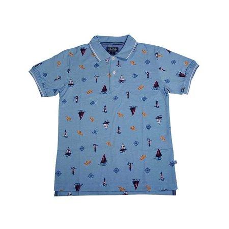 E-Land - Little Boys Short Sleeved Polo Shirt Light Blue Sailboats / 12