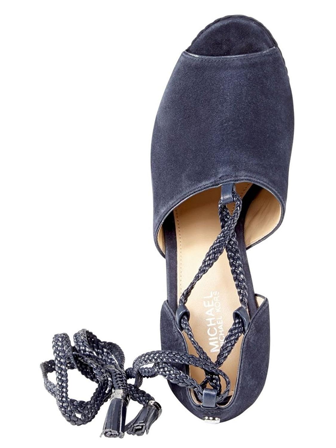 7280d4890077 michael-kors - michael kors hastings lace up wedge heels admiral blue -  Walmart.com